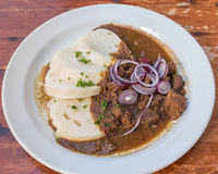 Beef Goulash and Bread Dumplings serving Royalty Free Stock Photography