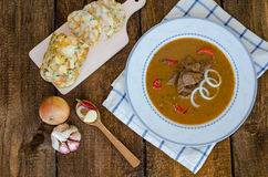 Beef goulash with homemade dumplings Stock Image