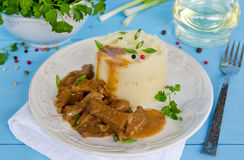 Beef goulash with mashed potatoes Stock Images