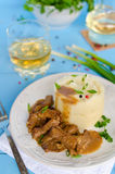 Beef goulash with mashed potatoes Stock Image