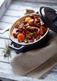Beef goulash with mushrooms and vegetables Royalty Free Stock Photos