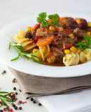 Beef goulash with pasta Royalty Free Stock Photography