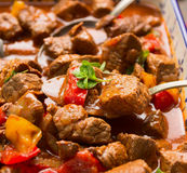 Beef goulash with vegetables and spoon Royalty Free Stock Photo
