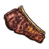 Beef grilled steak with bone top view. Vintage black vector engraving illustration. I Stock Image
