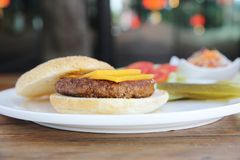 Beef hamburger fastfood. On a plate royalty free stock photo