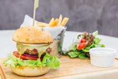 Beef hamburger cheese Stock Image