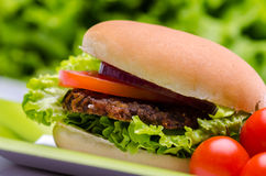 Beef hamburger and cherry tomatoes Stock Images