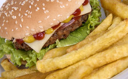 Beef hamburguerwith french fries (2) Stock Photo