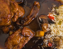 Beef in honey sauce with rice Stock Images