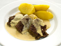Beef with horseradish and potatoes royalty free stock photography