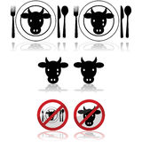 Beef icons. Icon set showing a cattle head combined with a plate and signs to represent beef royalty free illustration