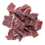Beef Jerky over white Stock Photos