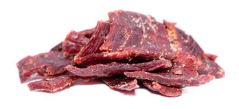 Beef Jerky over white Royalty Free Stock Photo