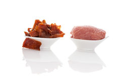 Beef jerky, preserved meat. Royalty Free Stock Image