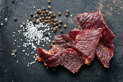 Beef jerky and spice Stock Photos