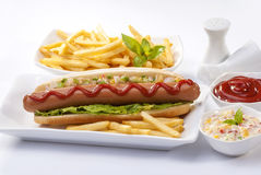 Beef Jumbo sausage sandwich with coleslaw & Ketchup & Fries Royalty Free Stock Images