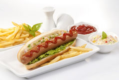 Beef Jumbo sausage sandwich with coleslaw & Ketchup & Fries Royalty Free Stock Photography