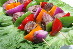 Beef kabobs on lettuce  Royalty Free Stock Photo