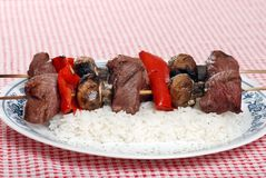 Beef kabobs with vegetables Royalty Free Stock Images