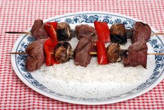 Beef kabobs with vegetables Stock Photography