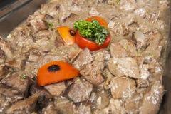 Beef kamonee at an oriental restaurant buffet Stock Photos