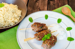 Beef kebab with with couscous Stock Photography