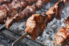 Beef kebab. Fresh meat at grill, bbq Royalty Free Stock Images