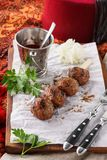 Beef kebab with sauce. Middle eastern, or mediterranean food stock photos