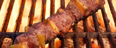 Beef Kebab or Shashlik On The Hot  Flaming Grill Stock Image