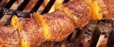 Beef Kebab or Shashlik On The Hot  Flaming Grill Royalty Free Stock Image
