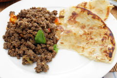 Beef keema curry and paratha Royalty Free Stock Photo
