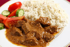 Beef korma and rice horizontal Stock Image