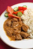 Beef korma and rice vertical. North Indian-style beef korma curry with basmati rice and a salad of tomato and cucumber Stock Images