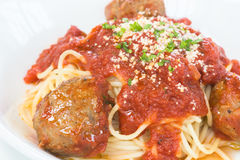 Beef and Lamb meatball pasta Stock Photo
