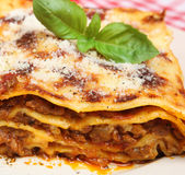 Beef Lasagna. Beef lasagne with grated Parmesan cheese Stock Photo