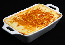 Beef Lasagna. In a ceramic casserole dish Stock Photography