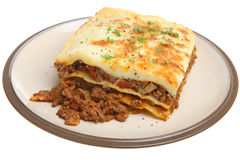 Beef Lasagna. Portion of freshly baked beef lasagna Stock Photography