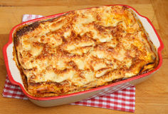 Beef Lasagna Food in Casserole Dish Stock Images