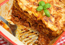 Beef Lasagna or Lasagna in Dish Royalty Free Stock Image