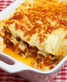 Beef Lasagna or Lasagne. Freshly baked beef lasagna in a ceramic casserole dish Stock Photo