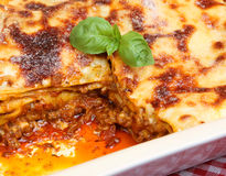 Beef Lasagna in Serving Dish Stock Image