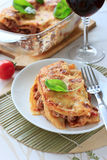 Beef lasagna on the white plate Royalty Free Stock Photos