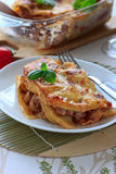 Beef lasagna on the white plate Royalty Free Stock Images