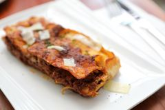 Beef lasagna , Italian food. Beef lasagna on a plate , Italian food royalty free stock photography