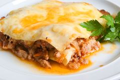 Beef lasagne stock photography