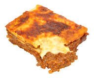 Beef Lasagne Portion. Portion of beef lasagne layered pasta isolated on a white background stock image
