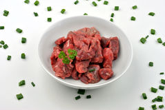 beef lean diced steak on a plate Royalty Free Stock Photo