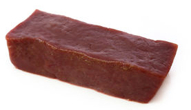 Beef liver. Close up of Beef liver over white background Stock Photo