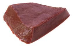 Beef liver. Close up of beef liver over white background Royalty Free Stock Image