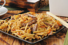 Beef lo mein. A plate of beef lo mein with chopsticks stock photo